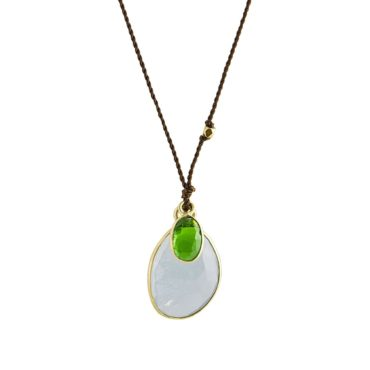 Margaret Solow, Aquamarine, Chrome Diopside & 18ct Yellow Gold Cord Necklace, Tomfoolery