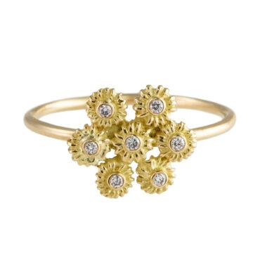 Helene Turbe, 18ct Gold Diamond Flower Cluster Ring, tomfoolery