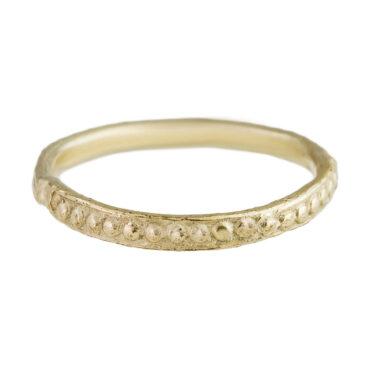 Monica Lara, 14ct Yellow Gold Single Dot Texture Wedding Band, Tomfoolery