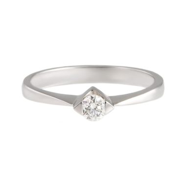 tf Collective, Diamond & 9ct White Gold Squared Solitaire Ring, Tomfoolery