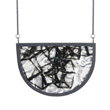 Ruth Brown, Oxidised Silver Crescent Pendant Necklace, Tomfoolery