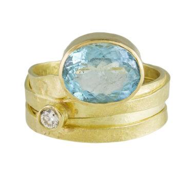 Tomfoolery; One of a Kind 'Aquamarine & Diamond' Art Ring, Shimara Carlow