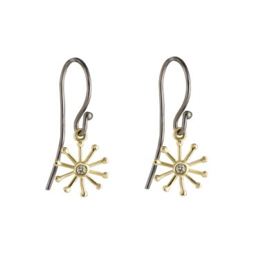 tomfoolery: Rhodium Plated Silver & 14 Carat Gold Flower Earrings with Diamond by Atelier Errikos