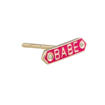 Nora Kogan, Diamond & Enamel 14ct Yellow Gold 'Babe' Single Stud, Tomfoolery