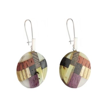 tomfoolery:  Amber & Wood and Silver Circle Drop Earrings by Amberwood
