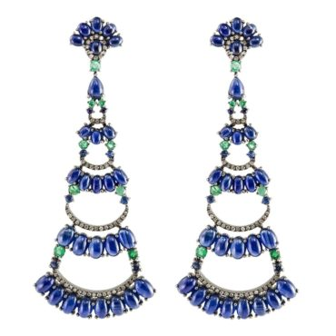 tf Collective, Sapphire, Emerald & Diamond Long Drop Earrings, Tomfoolery