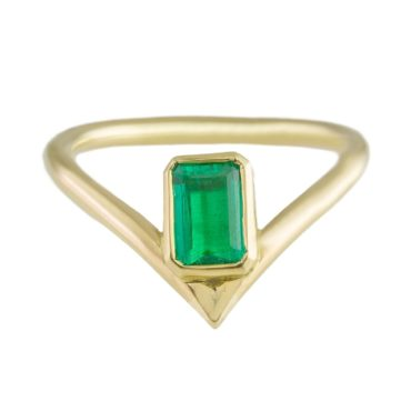 One of a Kind '18ct Yellow gold & Emerald' Art Ring , Max Danger, Tomfoolery