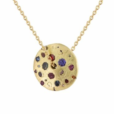 Polly Wales, Tomfoolery, Large Rainbow Sapphire Spinner Necklace