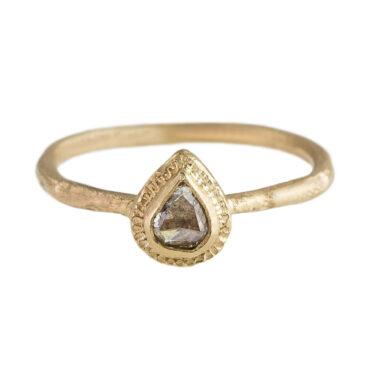 Franny E, 'The Elizabeth' 14 Carat Yellow Gold & Pear Light Brown Diamond Ring, Tomfoolery