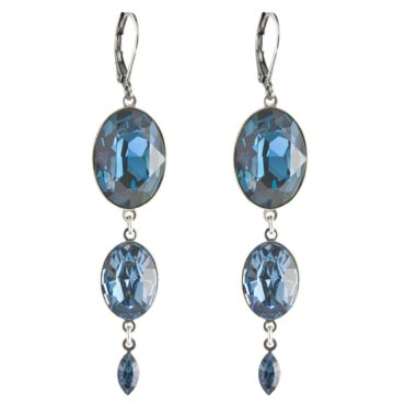 tomfoolery Triple Drop Oval Crystal Flip Hook Earring