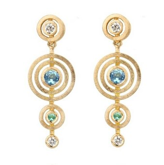 Shimell & Madden, Sapphire, Diamond & Beryl 18ct Yellow Gold Alignment Earrings, Tomfoolery