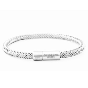 Tateossian, Men's Soho Bracelet in Silver Steel Wire, Tomfoolery