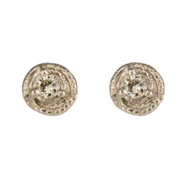 Mia Chicco, Champagne Diamond & 18ct White Gold Rustic Stud Earrings, Tomfoolery