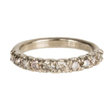 Mia Chicco, Champagne Diamond & 18ct White Gold Rustic Half Eternity Ring, Tomfoolery