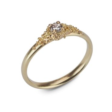 Hannah Bedford, Tomfoolery, 18ct Gold Single Diamond Cluster Ring