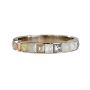 Muse by tomfoolery, 18ct White Gold Checkered Diamond Eternity Ring, tomfoolery