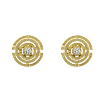 Shimell & Madden, Diamond & 18ct Yellow Gold Four Circle Earrings, Tomfoolery