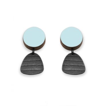 Emily Kidson, Light Green Circle and Tiny Stripe Studs Earrings, tomfoolery