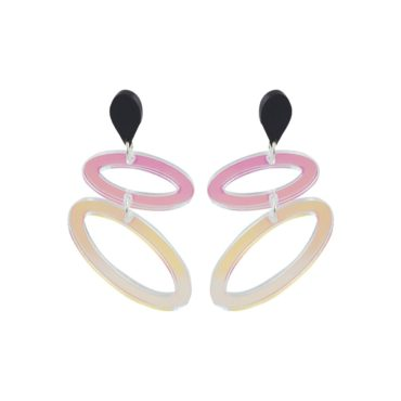 Toolally, Two Drop Iridescent Ellipses Earrings, Tomfoolery