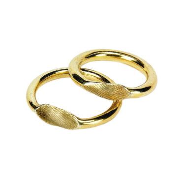 Jacek Byczewski, 14ct Gold Fingerprint Round Unisex Wedding Rings, Tomfoolery
