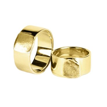 Jacek Byczewski, - 14ct Gold Fingerprint Flat Unisex Wedding Rings , Tomfoolery