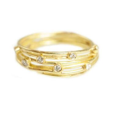 Tomfoolery; 18ct Gold Open Wrap Ring With Diamonds, Shimara Carlow