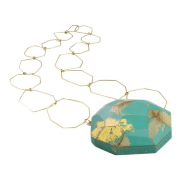 tomfoolery:Gold Plated Silver And Carved Wood Necklace, Cristina Zani