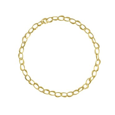 Tezer, Gold-Plated Silver Heavy Seed Link Necklace, Tomfoolery