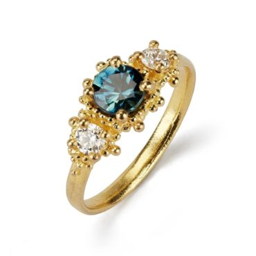 Katie Lees, tomfoolery, Triple Cluster Ring with Teal Sapphire & White Diamonds