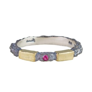 tomfoolery: Oxidised Silver and Ruby Step Ring  by Apostolos