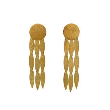 tomfoolery: gold-plated large sun drop earrings by Cara Tonkin