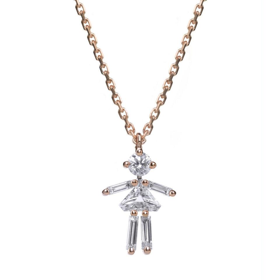 Tomfoolery, 18ct Rose Gold Little One Girl Diamond Pendant, Little Ones Paris