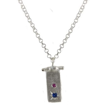 Maria Beltran, Pink & Blue Sapphire Silver Rectangle Pendant, Tomfoolery