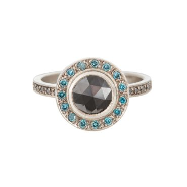 Muse by tomfoolery, 18ct White Gold Black Round Rose cut & Blue Diamond Ring, tomfoolery