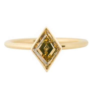 tf One, 18ct Yellow Gold Cognac Rhombus Diamond Ring, tomfoolery