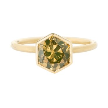 tf one, 18ct Yellow Gold Cognac Hexagon Diamond Ring, tomfoolery