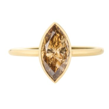 tf one, 18ct Yellow Gold Cognac Marquise Diamond Ring, tomfoolery