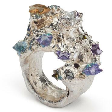 Maud Traon, Super Star Garnet, Citrine & Peridot Silver Ring, Tomfoolery