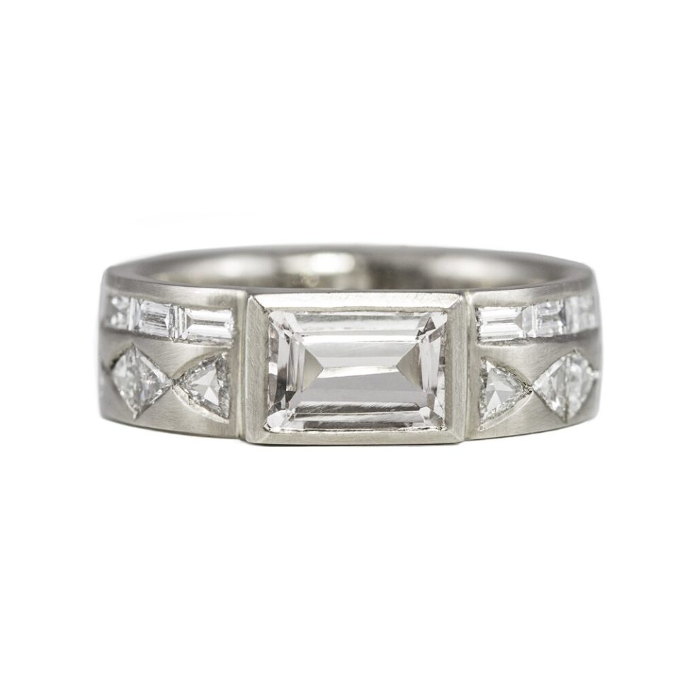 Muse by tomfoolery, 18ct White Gold Aztec Morganite & Diamond Ring, tomfoolery