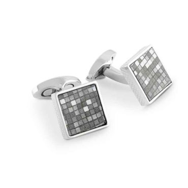 Tateossian, Grid-Patterned Grey Leather Cufflinks, Tomfoolery