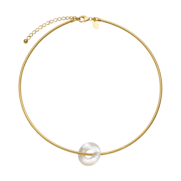 Nina Kastens, Mother of Pearl & Gold-Plated Silver Glazed Choker, Tomfoolery