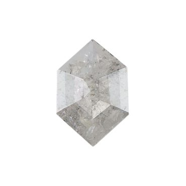 0.67ct White short Hex Rose cut Diamond, tf Stones
