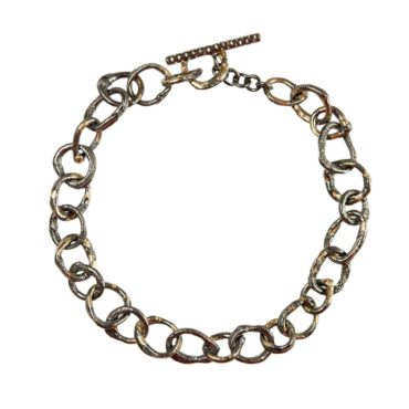 Samantha Queen, Oxidised Silver & 18ct Yellow Gold Link Bracelet, Tomfoolery