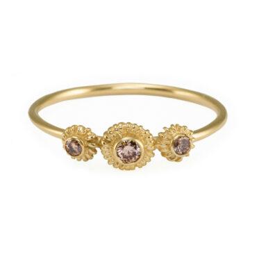 Helene Turbe, 18ct Yellow Gold & Champagne Diamond Paul Ring, Tomfoolery