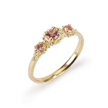 Hannah Bedford, Tomfoolery, Triple Cluster Ring with Peach Sapphires