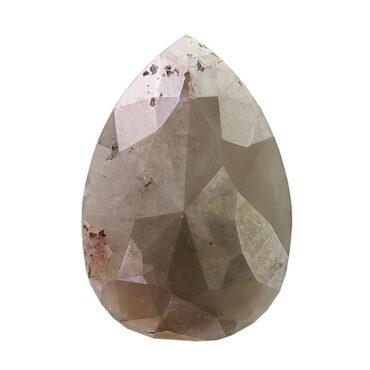 3.19ct Two Tone Grey & Brown Pear Rose Cut Diamond, tf Stones