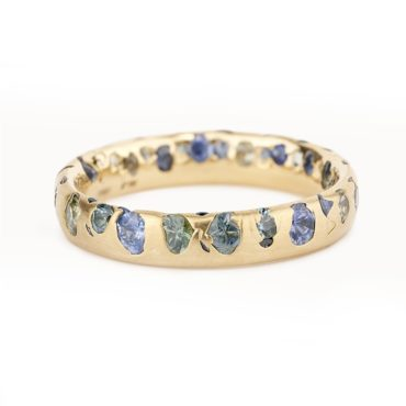 Polly Wales, Blue & Green Sapphire Narrow Confetti Ring, Tomfoolery