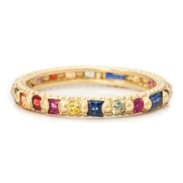 Polly Wales, Harlequin Rainbow Sapphire Rapunzel Ring, Tomfoolery