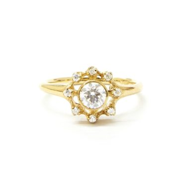 n+a New York, Organic Diamond & 14ct Yellow Gold Cluster Ring, Tomfoolery