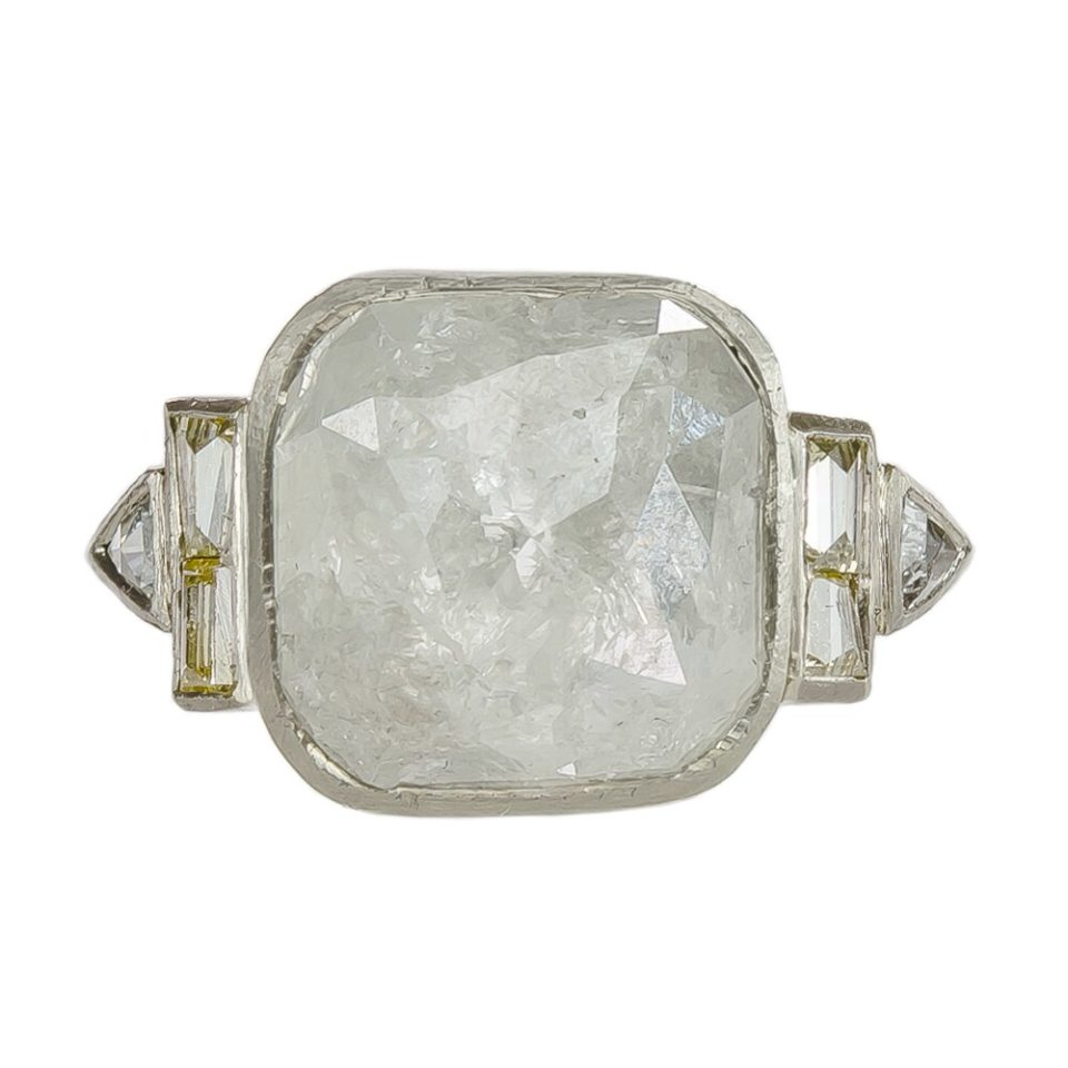 Muse by tomfoolery, 18ct White Gold Art Deco Rose Cut Grey Diamond Ring, tomfoolery